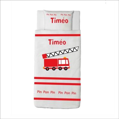 Housse de couette camion de pompier Timéo