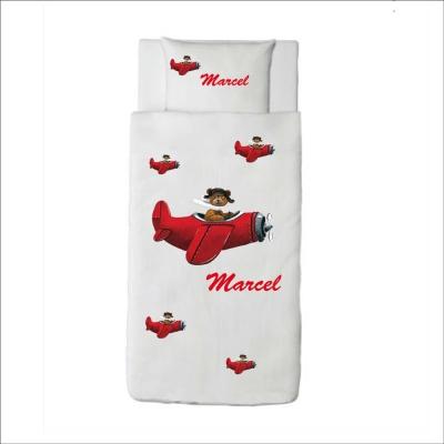 Housse de couette ours en avion rouge Marcel