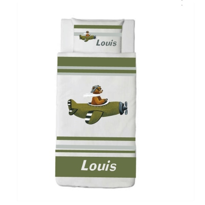Housse de couette ours en avion vert Louis