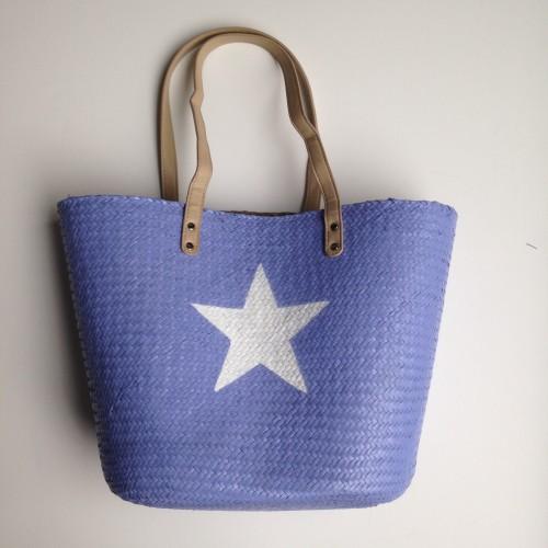 Panier tressé bleu lavande étoile blanche avec grandes anses