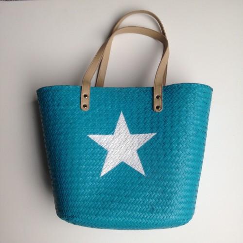 Panier tressé bleu turquoise étoile blanche avec grandes anses