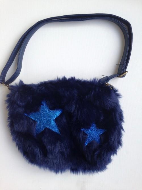 Sac bandoulière fourrure et étoiles bleu marine
