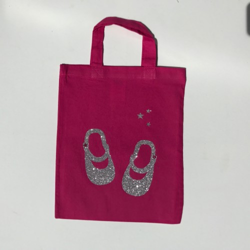 Tote bag mini chaussures rose personnalisable