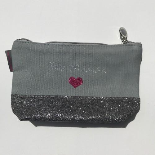 Pochette grise coeur personnalisable