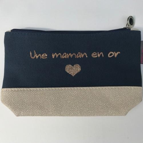 Pochette bleu marine coeur doré personnalisable