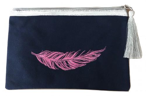 Pochette marine plume rose pailletée personnalisable