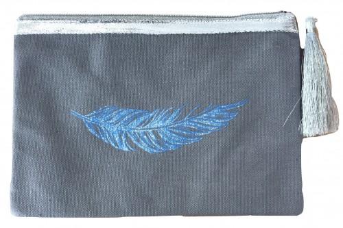 Pochette grise plume bleue pailletée personnalisable