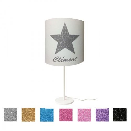 Lampe à poser étoile pailletée personnalisable