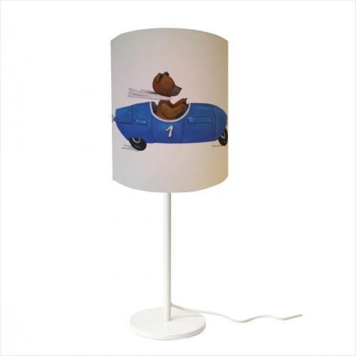 Lampe à poser ours en voiture bleue personnalisable