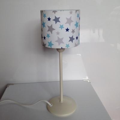 Lampe poser toiles bleu et grise lili pouce boutique d co chambre b b - Lampe de chevet grise ...