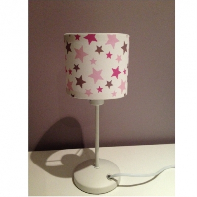 Lampe poser toiles rose et taupe lili pouce for Lampe a poser rose