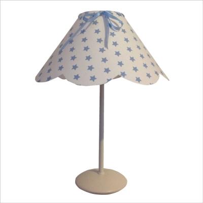 Lampe à poser abat jour festonné etoiles bleues