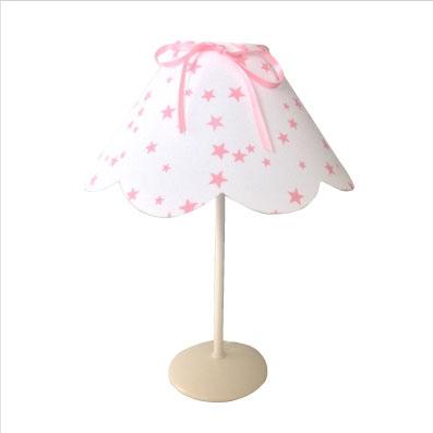 Lampe à poser abat jour festonné etoiles roses