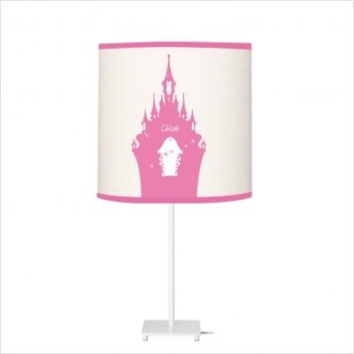 Lampe à poser chateau rose