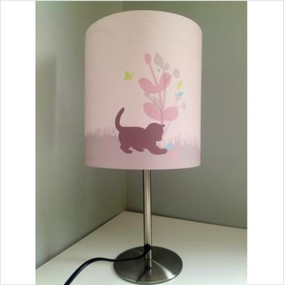 Lampe à poser chaton rose avec pied argenté