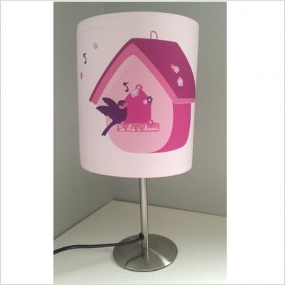 Lampe à poser nichoir oiseau rose