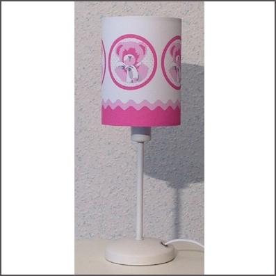 Lampe à poser ours bébé rose personnalisable