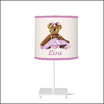 Lampe à poser ours danseuse rose personnalisable