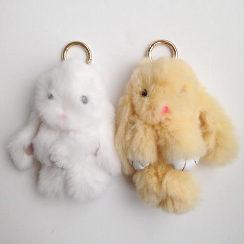 Duo de porte-clés lapins beige et blanc