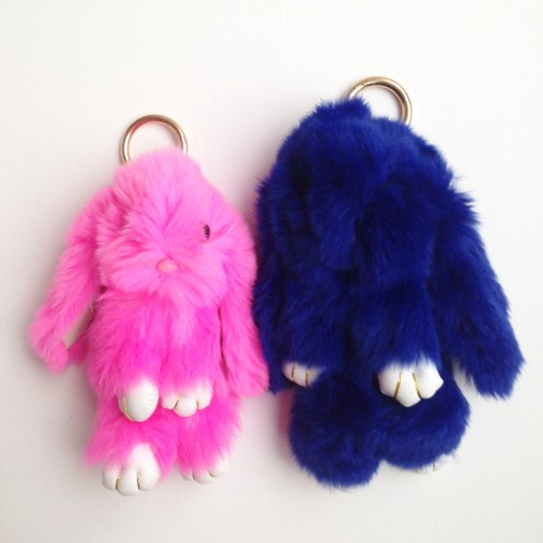 Duo de porte-clés lapins bleu foncé et rose fluo