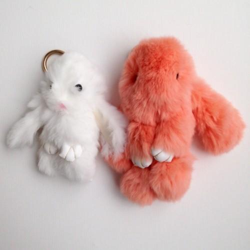 Duo de porte-clés lapins corail et blanc
