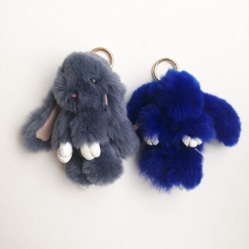 Duo de porte-clés lapins gris anthracite et bleu foncé