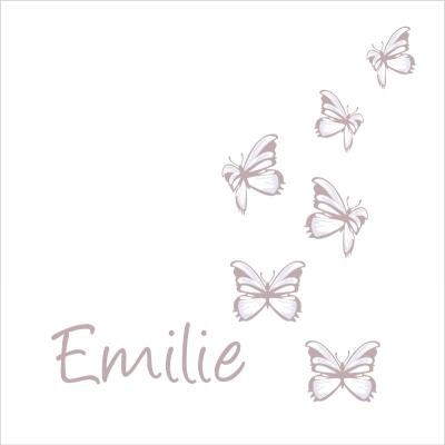 Stickers prénom papillons craie