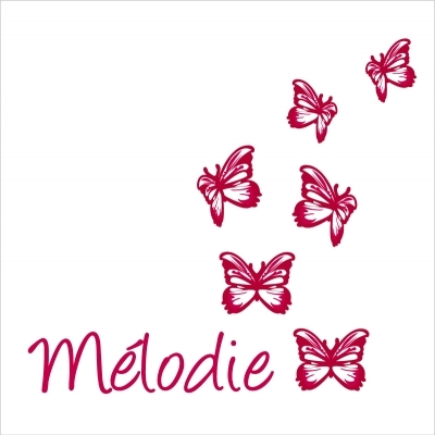 Les petits papillons rouges et prénom personnalisé