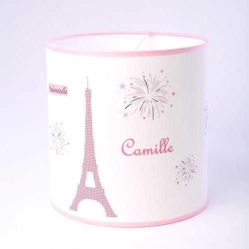 Abat Jour ou Suspension Melle Paris Tour Eiffel rose personnalisable