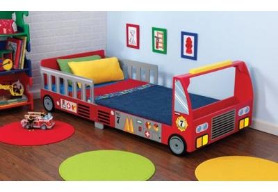 Lit camion pompier rouge