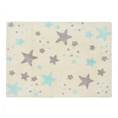 Tapis pluie d'étoiles beige et menthe