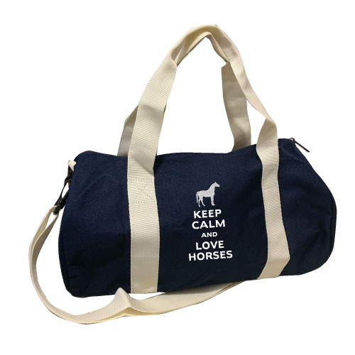 Sac de sport marine keep calm love horses argent personnalisable