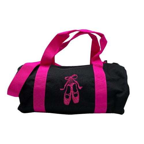 Sac de sport noir chaussons de danse rose pailleté personnalisable