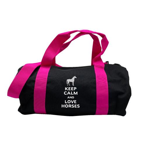 Sac de sport marine rose keep calm love horses argent personnalisable