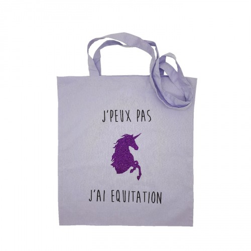 Tote bag équitation licorne violet