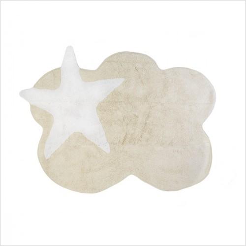Tapis enfant nuage beige et étoile blanche