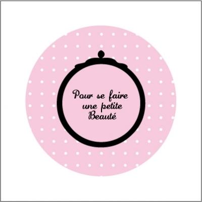 Miroir de poche beaute pois rose