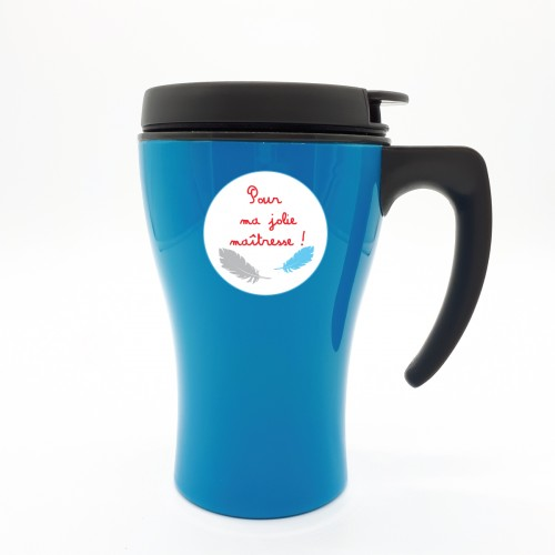 Mug isotherme bleu plumes  maitresse