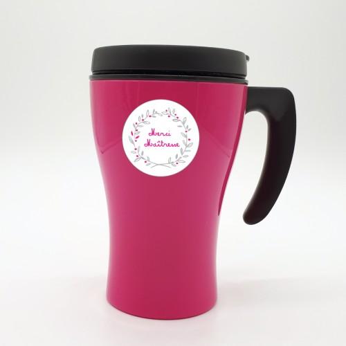 Mug isotherme rose couronne maitresse