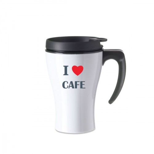 Mug isotherme blanc I Love café coeur rouge