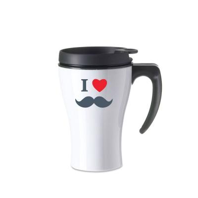 Mug isotherme blanc I love moustache rouge