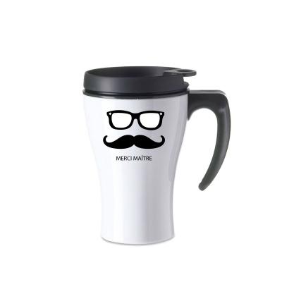 Mug isotherme blanc moustache et lunettes
