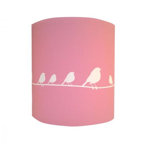Applique oiseaux blanc fond rose personnalisable