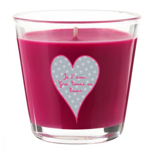 Bougie parfumée rose fuchsia coeur gris personnalisable