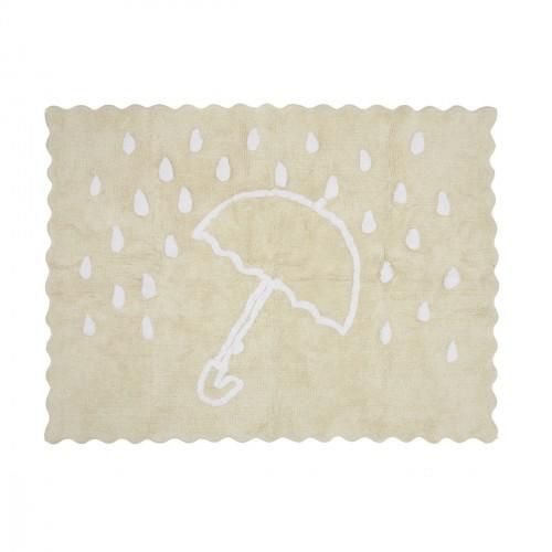 Tapis enfant coton parapluie beige