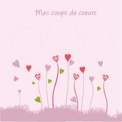Pêle mêle fleurs coeur rose