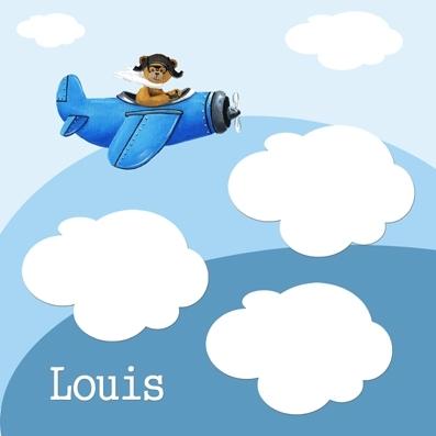 Pêle mêle ours avion bleu personnalisable