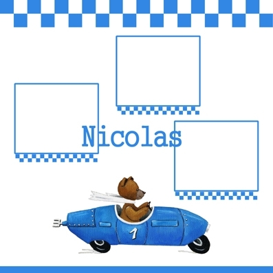 Pêle mêle ours en voiture bleue personnalisable
