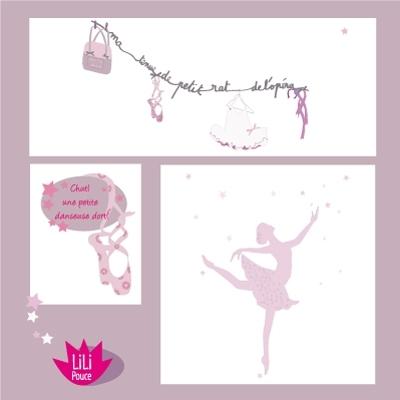 pack deco danseuse lili pouce boutique d co chambre b b enfants et cadeaux personnalis s. Black Bedroom Furniture Sets. Home Design Ideas