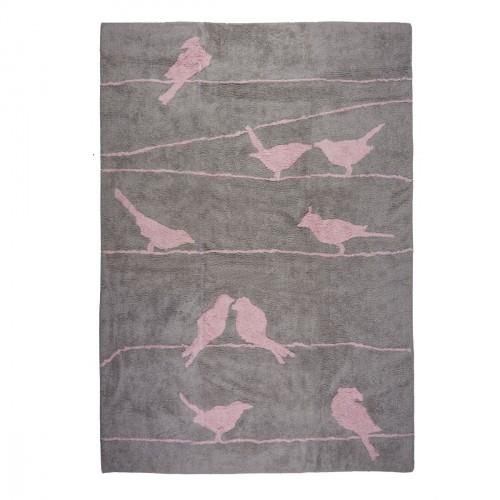 Tapis enfant coton gris oiseaux roses